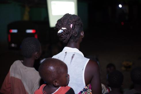 Woman and chld at screening